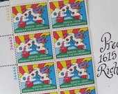 Peter Max Beatles Block of 10 UNused Vintage US Postage Stamps 10c 1974 Expo 74 Preserve the Environment Save the Date Mod Madmen Midcentury