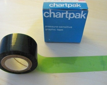 Vintage Green Tape 1970s Chartpak Pressure Sensitive Graphic Tape Lime Green 1 in x 324 in DecoTape Spring Scrapbooking Drafting Photography
