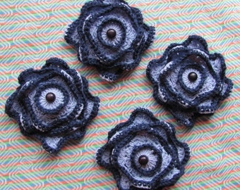 Crochet Appliques 4 Piece Set of 4 Inch Handmade Crochet Quadruple Layer Button Posies Doily Navy Blue Scrapbooking Sewing Embellishments