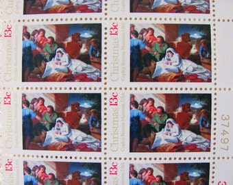 Lot of 20 New England Christmas Copley's Nativity 13cent XMas UNused US Vintage 1970s Postage Stamps to post 5 plus letters
