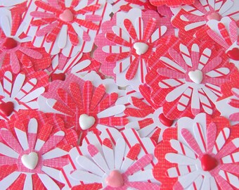 20 Peppermint Twist Paper Posies Handmade Embellishments Christmas Valentine Red White Pink Scrapbooking Supplies Paper Punches Decorations