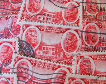 The Hermitage 26 Vintage US Postage Stamps Andrew Jackson Winfield Scott Red Carmine Nashville TN Tennessee Valentine Military Hero History