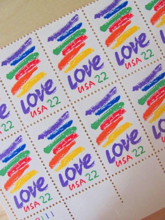 Rainbow of Love Block of 10 Crayon Scribbles 1980s UNused 22cent US Vintage Valentine Postage Stamps Scrapbooking LGBT Gay Pride Equality