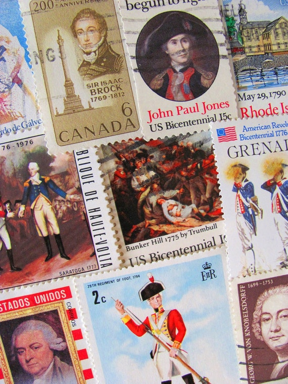 50 White Wig Wearin' Revolutionary War Fightin' 18th Century Themed Vintage US and Worldwide 1700s Illustrations Postage Stamps Philately