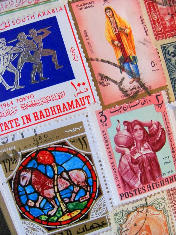 50 Peace In the Middle East Persian Vintage Worldwide Postage Stamps Philately Arabic Muslim Islamic Arabian Persian