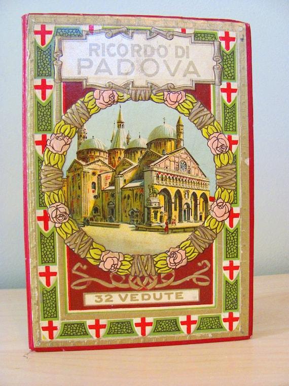 Vintage Postcards 1900s Panoramic Postcard Set of 32 Ricordo Di Padova Italy Roman Catholic Italiano Ricordo Di Padova