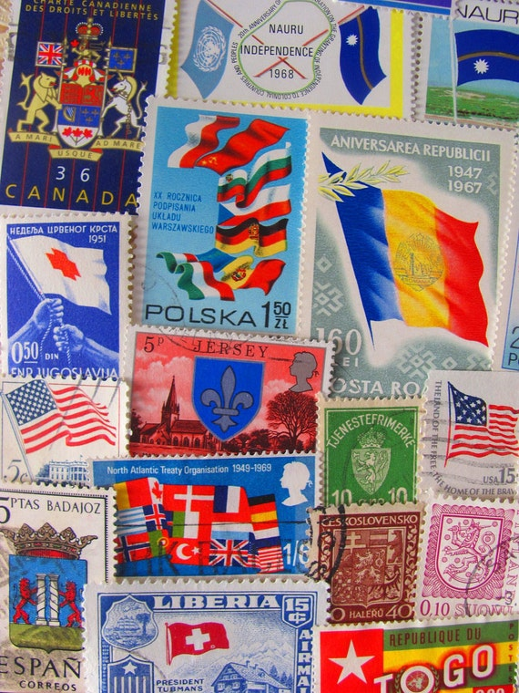 Flags Of Our Fathers 50 Vintage US and Worldwide Postage Stamps Philately Flags and Shields World Peace United Nations