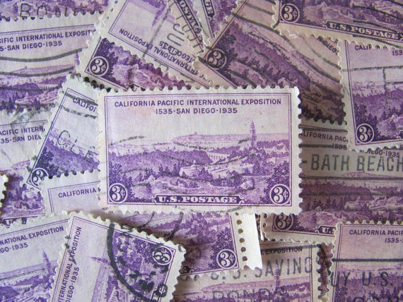 San Diego is For Lovers 38 Vintage 30s 3cent Violet Purple US Postage Stamps California Pacific International Expo Philately