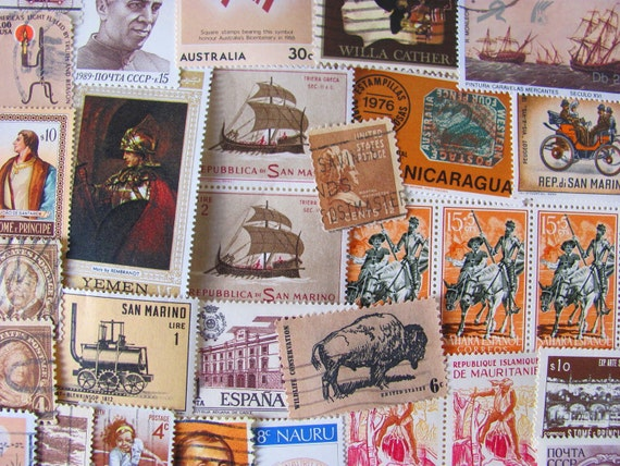 Shades of Brown 100 Vintage Postage Stamps US Worldwide Sepia Bark Chocolate Natural Postage Stamps Philately