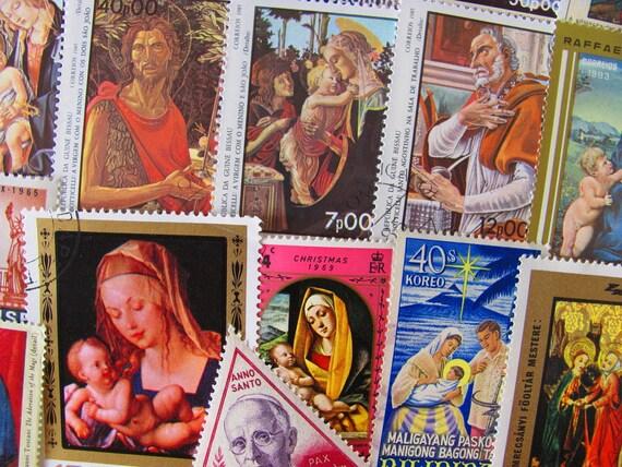Jesus Loves You 50 Vintage Worldwide Postage Stamps Philately Religious Christian Easter XMas Nativity God Virgin Fine Art