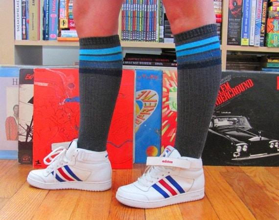 Vintage 1980s Adidas Top Ten Hi Top Basketball Sneakers Petite Boys Size 4 Red White Blue Stripes Hiphop Bboy Bgirl  80s Fashion Footwear