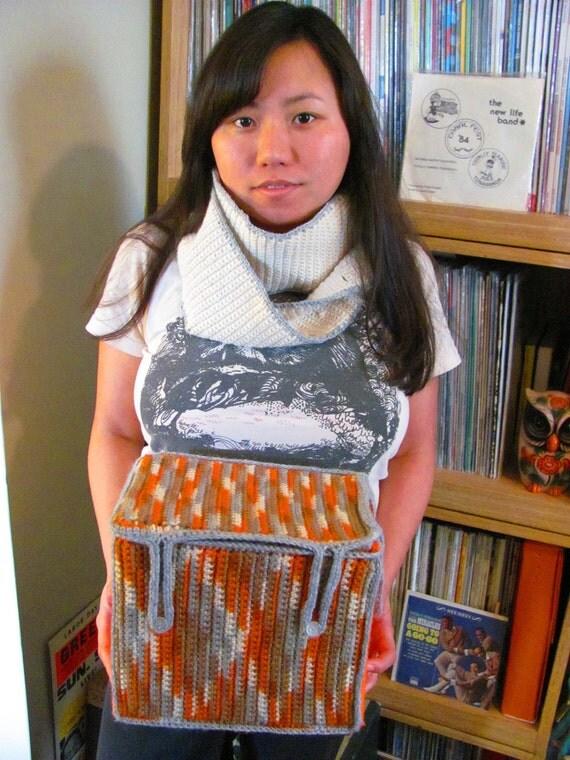 Orange Crush cOWL's Nest Handmade Crochet 7 Inch Record Box Handbag Cowl Combo Unisex Mod Book Bag Hipster Luggage 45 RPM Vinyl Storage
