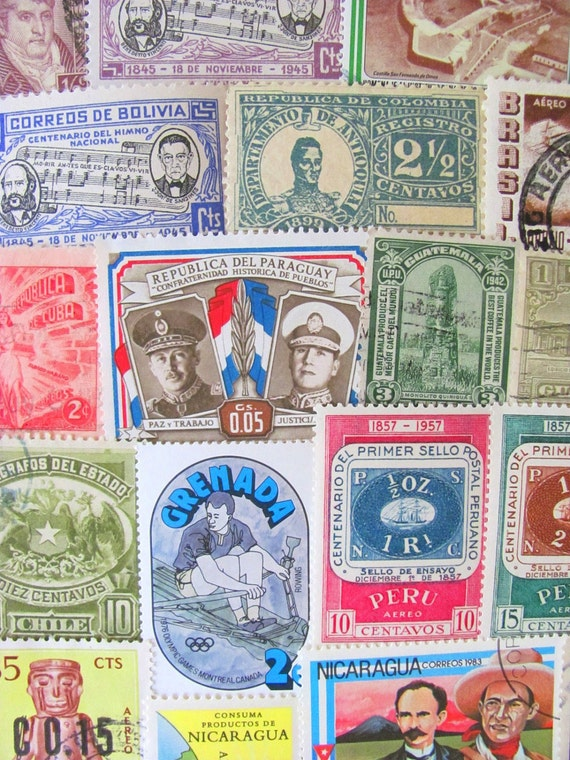 Latin Love 50 Vintage Worldwide Latin American Postage Stamps Philately Hispanic Central South America Mexico Brasil