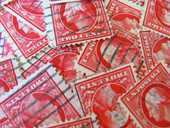Red Letter Day 50 Carmine George Washington Red Vintage 20s US 2-cent Postage Stamps Scott 599 Philately Wedding Valentine