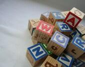 Vintage Wooden Alphabet Blocks Set of 27