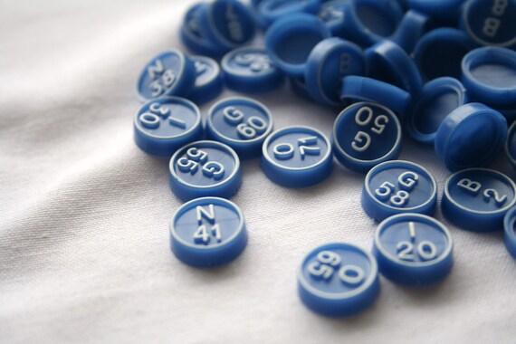 Vintage Blue and White Bingo Tiles Set of 30