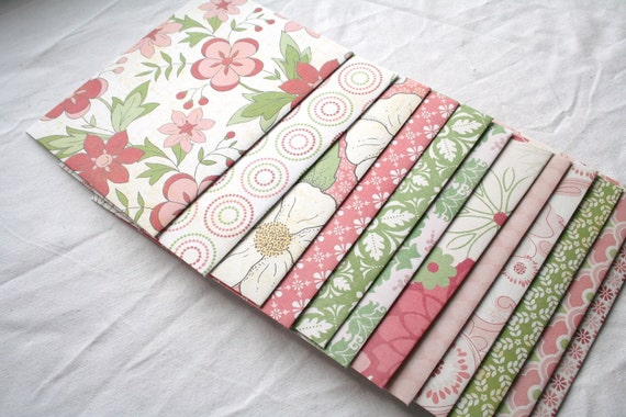 Handmade Standard Envelopes PINK AND GREEN Set of 12