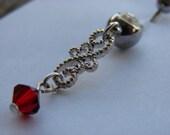 SALE - Swarovski Ruby Scroll Dangle Naval Ring