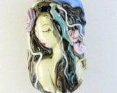Lampwork Mermaid Focal Bead - Pearl