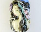 Lampwork Mermaid Focal Bead - Pearl