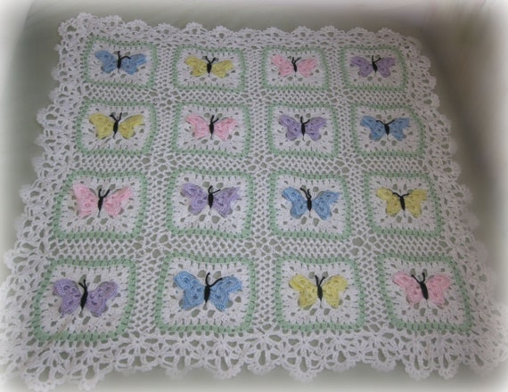 Butterfly Crochet Afghan Pattern Free : Items similar to Butterfly crocheted baby afghan on Etsy