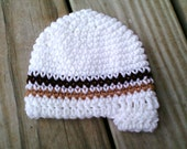 Baby Beanie - White w/ Brown and Tan Taupe Stripes and Bill Brim Visor (Newborn)