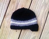 Baby Beanie - Black w/ Charcoal Grey and White Stripes and Brim Visor (Newborn)