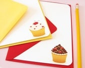 Chocolate and Cherry Cupcakes Note Cards - Set of 10
