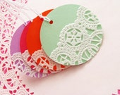 ON SALE - Vintage Doilies Gift Tags Colorful - Set of 20