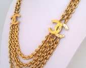 CHANEL Stunning and rare 1984 CC chain necklace
