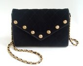 CHANEL Quilted Suede Envelope Clutch and Shoulder Bag with Chanel Button Detail