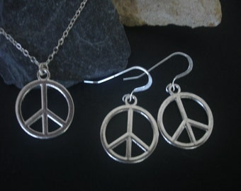 Peace Sign Necklace with matching Earrings