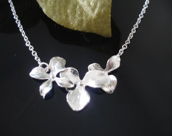 Trio Cascading Orchids in Sterling Silver