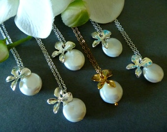 Freshwater Coin Pearl and Orchids Necklace