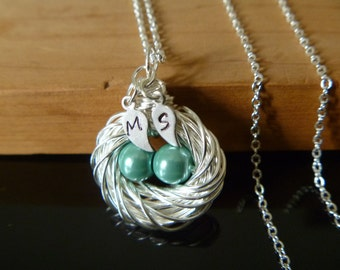 Bird Nest necklace, Bird nest jewelry, birthstone egg nest, initial leaf nest, mother bird nest, mommy bird nest, mothers day gift
