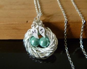 Bird Nest necklace, Bird nest jewelry, birthstone egg nest, initial leaf nest, mother bird nest, mommy bird nest, mothers day gift