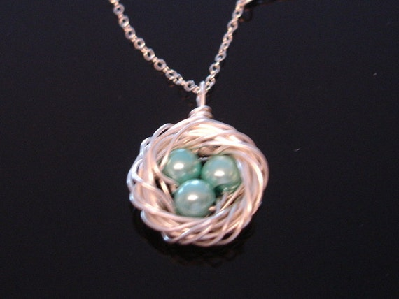 Birds Nest Necklace - Silver - Sterling Silver chain - Mommy Gift - Mothers day gift - Wedding - Baby Shower
