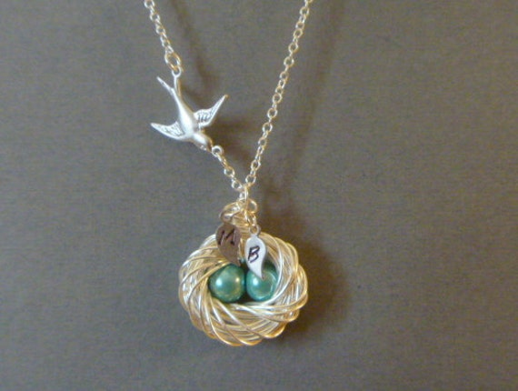 Mommy Bird and Egg Nest Necklace, 2 eggs, 2 initial leaf