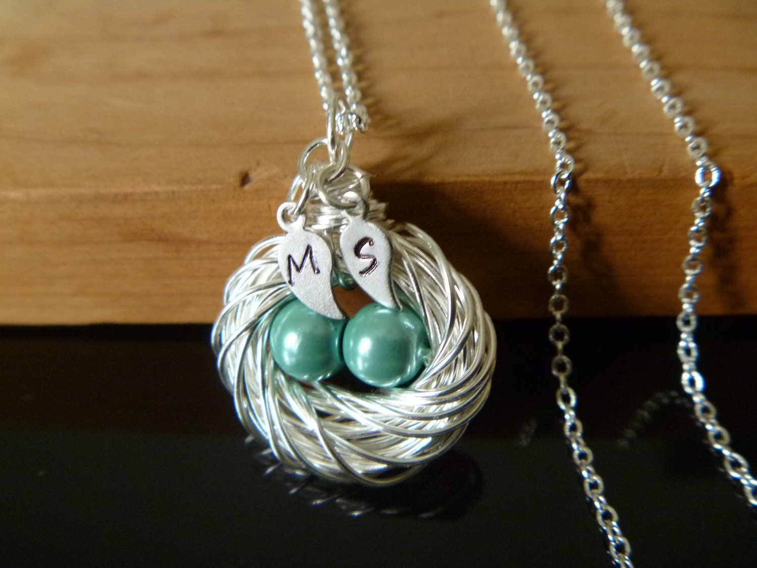 bird nest necklace bird nest jewelry birthstone egg nest