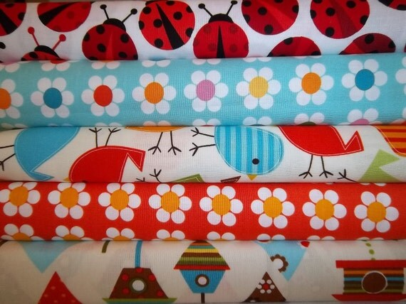 Personalized Rag Quilt Kit, Lady Bug and Bird Fabrics, Fun Fast and Easy to Make, Personalized