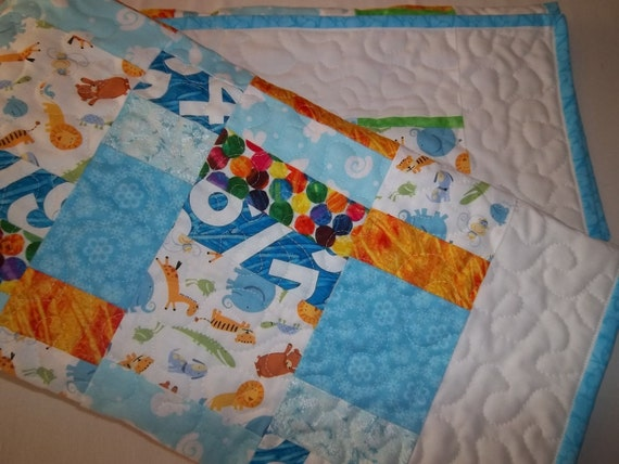 Jungle Baby Quilt, Ready to Ship, Personalized
