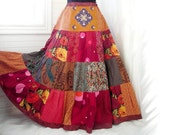 RESERVED - Red Fire Blossoms - Floral Patchwork Boho Gypsy Skirt, 19-foot hem, Sizes - S, M, L, XL