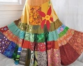 Sun Red Daisy - Long Patchwork skirt, Hippie Boho Gypsy Skirt, applique, Over 25-foot spin, For sizes - Large, XLarge, Plus