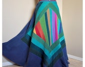 Azure Isle - Long Corduroy Hippie skirt, Ooak Patchwork Bohemian skirt, Teal blues Rainbow, can fit sizes - S to XL