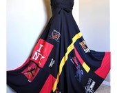 RESERVED for RA - Midnight Jazz - Long, Recycled Patchwork Tee-Dress, Bold Red Yellow Black, OOAK Upcycled chic,  Ideal for - M, L