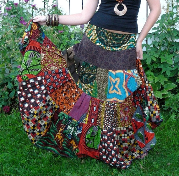 RESERVED - Wild Amazon - Tiered African Gypsy Skirt, Sizes -  S, M, L, XL