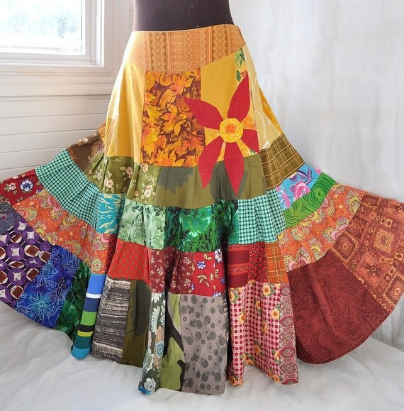 Sun Red Daisy Long Patchwork skirt Hippie Boho Gypsy Skirt