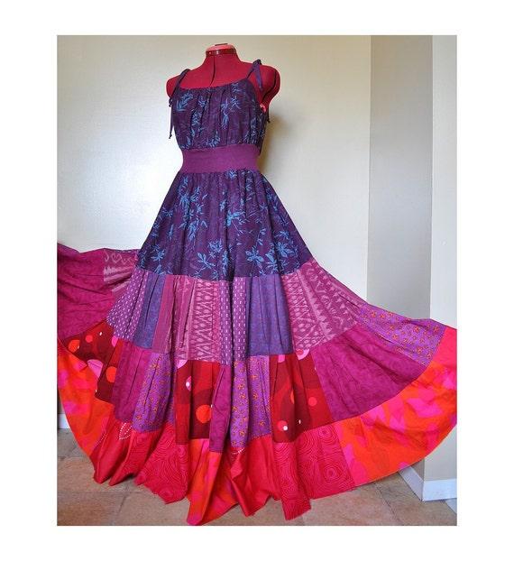 Honeysuckle Glow - Long Boho Maxi Dress, Ooak Hippie Patchwork Gown, Purple pink florals, Best fit sizes - Medium, Large, XLarge