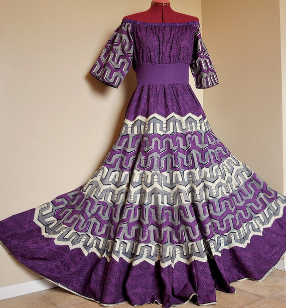 ON HOLD for K.O. - Purple Overdose -  Long African Maxi Gown, Ethnic Bohemian Ooak Tribal Clothing,  Ideal for sizes - S to L