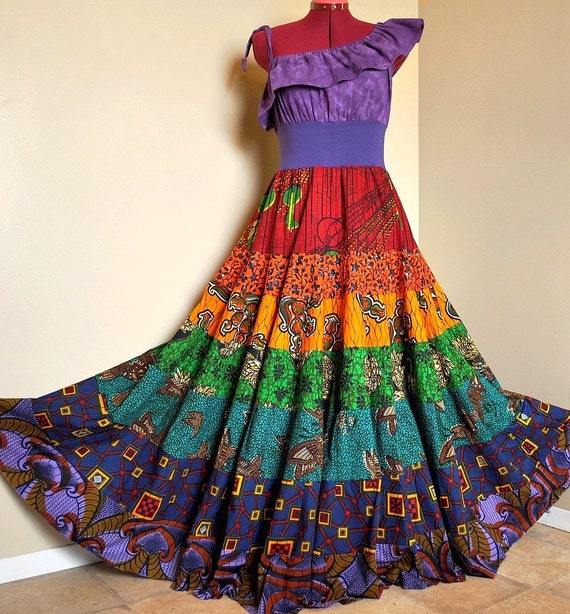 Rainbow Rhyme -  Long Ethnic Bohemian Gown, Ooak African Maxi dress, Rainbow Summer dress, best fit sizes - S to L